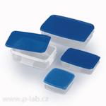 Krabička čirá s modrým víkem
