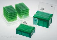 Krabičky se špičkami a vyměnitelné vložky se špičkami EcoPack Refill v pozadí
